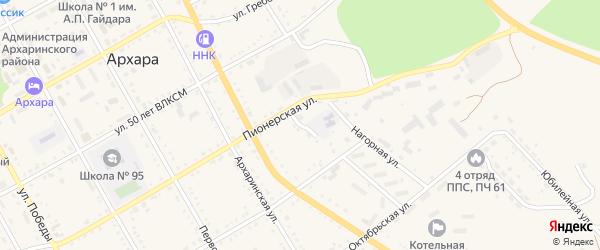 Пионерский переулок на карте поселка Архары с номерами домов