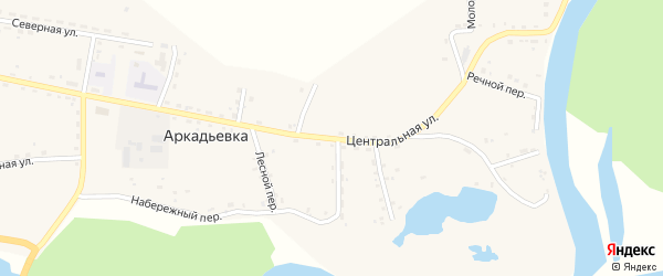 Центральная улица на карте железнодорожной станции Домикана с номерами домов