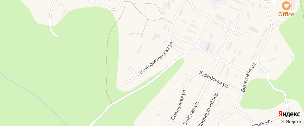 Комсомольская улица на карте поселка Талакана с номерами домов