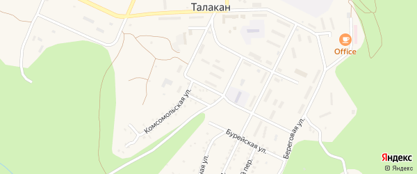 Улица Коммунаров на карте поселка Талакана с номерами домов