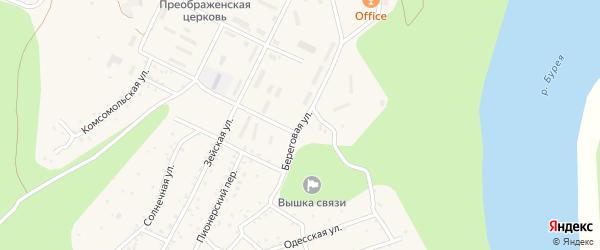 Береговая улица на карте поселка Талакана с номерами домов