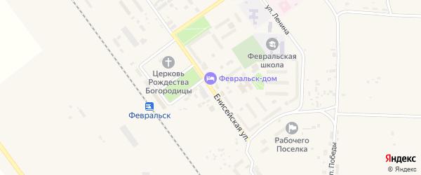 Енисейская улица на карте поселка Февральска с номерами домов