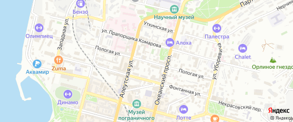 Пологая улица на карте Владивостока с номерами домов