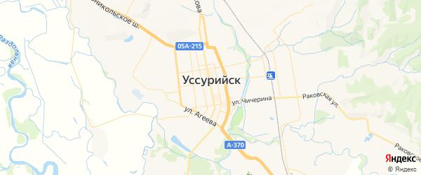 Карта Уссурийска с районами, улицами и номерами домов