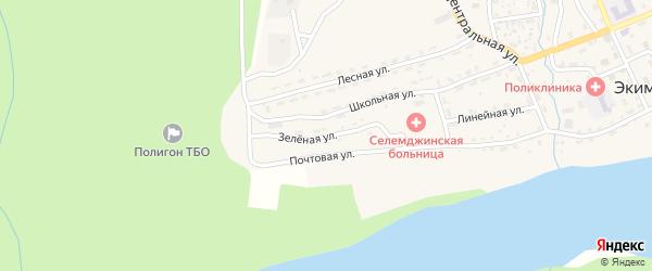 Зеленая улица на карте поселка Экимчана с номерами домов