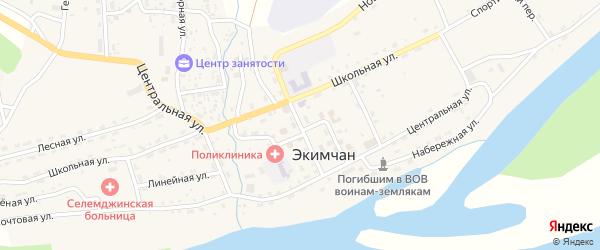 Линейная улица на карте поселка Экимчана с номерами домов
