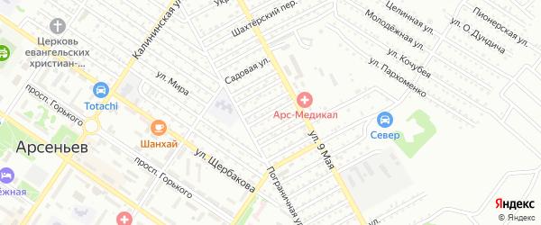 Переулок Щорса на карте Арсеньева с номерами домов
