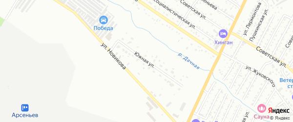 Южная улица на карте Арсеньева с номерами домов