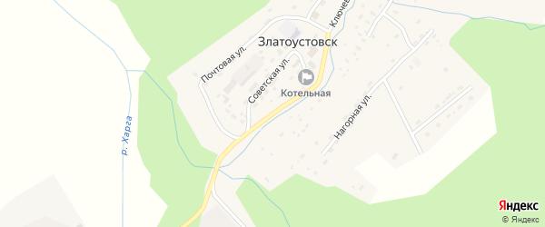 Советская улица на карте поселка Златоустовска с номерами домов