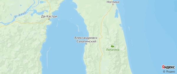 Карта Александровск-сахалинского района Сахалинской области с населенными пунктами и городами