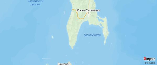 Карта Анивского района Сахалинской области с городами и населенными пунктами
