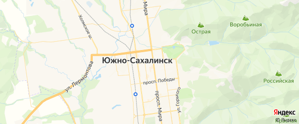 Карта Южно-Сахалинска с районами, улицами и номерами домов