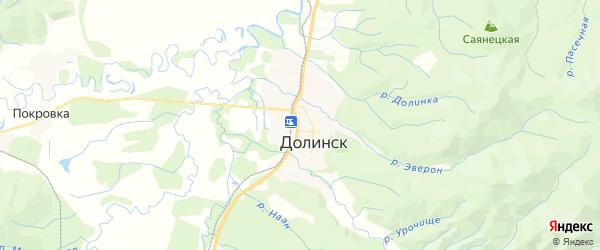 Карта Долинска с районами, улицами и номерами домов