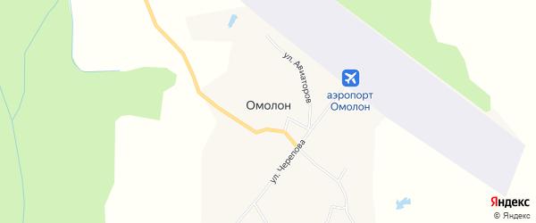 Карта села Омолона в Чукотском автономном округе с улицами и номерами домов