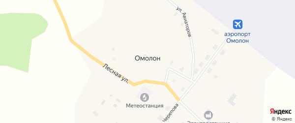 Улица Авиаторов на карте села Омолона с номерами домов