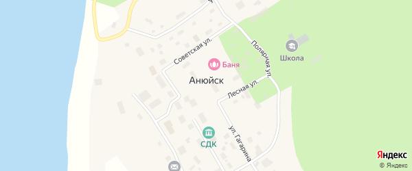 Полярная улица на карте села Анюйска с номерами домов
