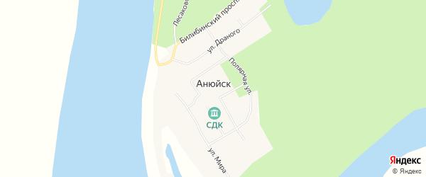 Карта села Анюйска в Чукотском автономном округе с улицами и номерами домов