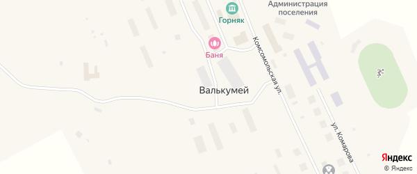 Комсомольская улица на карте поселка Валькумей с номерами домов
