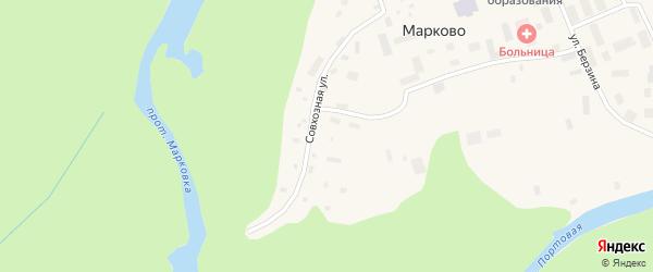 Совхозная улица на карте села Марково с номерами домов