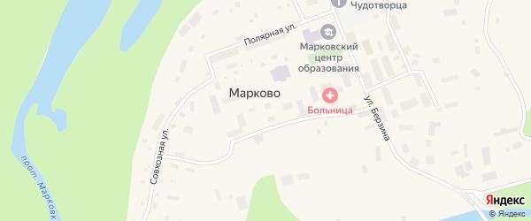 Коммунальная улица на карте села Марково с номерами домов