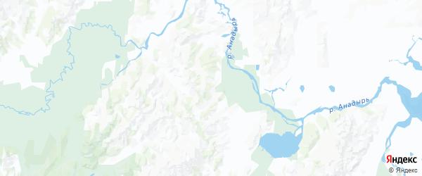 Карта Анадырского района Чукотского автономного округа с городами и населенными пунктами