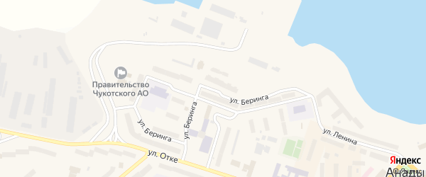 Улица Беринга на карте Анадыря с номерами домов