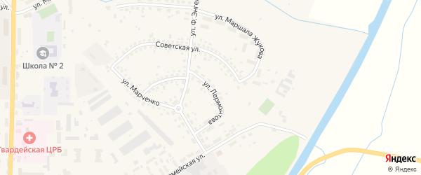 Улица Лермонтова на карте Гвардейска с номерами домов