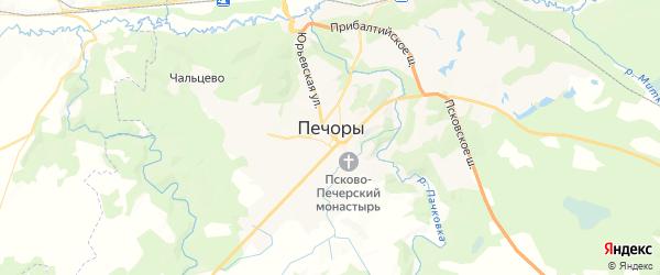 Карта Печор с районами, улицами и номерами домов