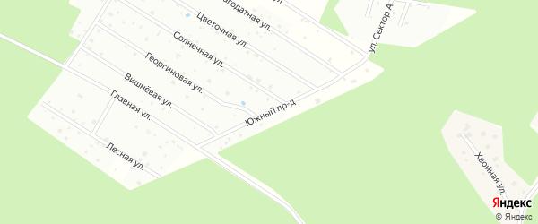 Южная улица на карте садового некоммерческого товарищества Ромашки с номерами домов