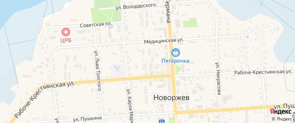 Псковская улица на карте Новоржева с номерами домов