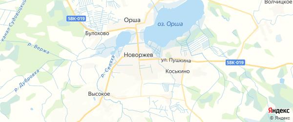 Карта Новоржева с районами, улицами и номерами домов