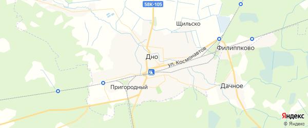 Карта Дно с районами, улицами и номерами домов