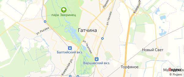 Карта Гатчины с районами, улицами и номерами домов