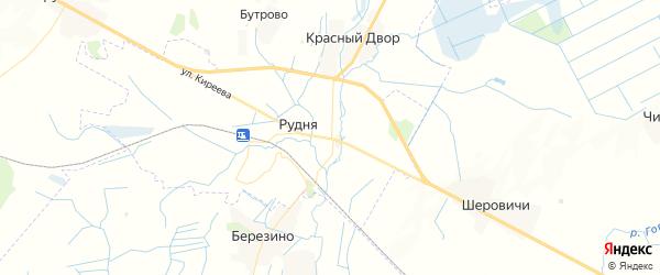 Карта Рудни с районами, улицами и номерами домов