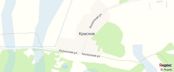 Колхозная улица на карте поселка Красного с номерами домов