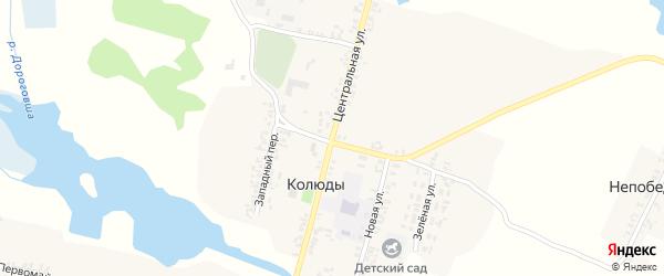 Центральная улица на карте села Колюды с номерами домов