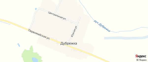Южная улица на карте поселка Дубрежки с номерами домов