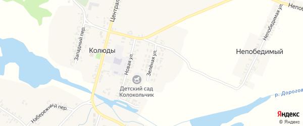 Зеленая улица на карте села Колюды с номерами домов