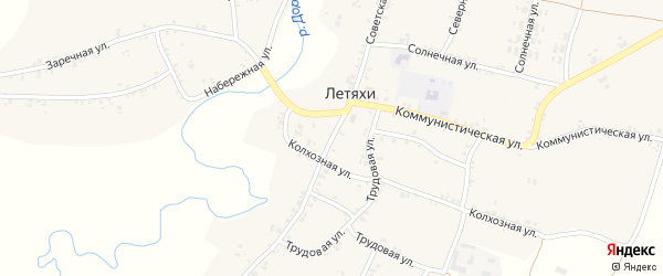 Советская улица на карте села Летяхи с номерами домов