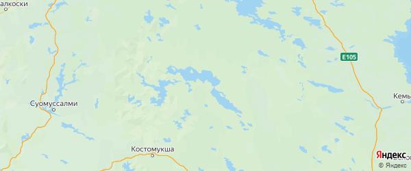 Карта Калевальского района республики Карелия с населенными пунктами и городами
