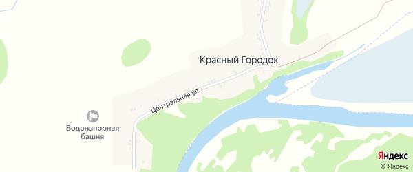 Центральная улица на карте поселка Красного Городка с номерами домов