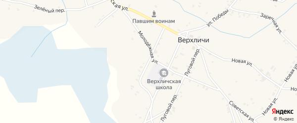 Садовый переулок на карте села Верхличей с номерами домов