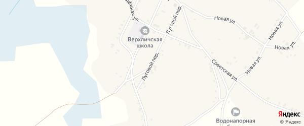 Луговой переулок на карте села Верхличей с номерами домов