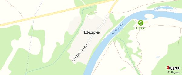 Центральная улица на карте поселка Щедрина с номерами домов