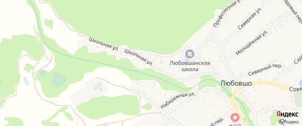 Школьная улица на карте деревни Любовшо с номерами домов
