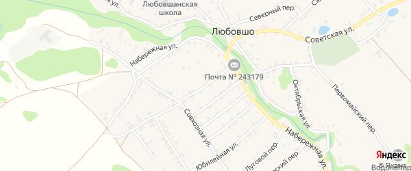 Рабочий переулок на карте деревни Любовшо с номерами домов