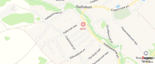 Пролетарский переулок на карте деревни Любовшо с номерами домов