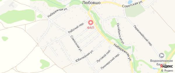 Солнечный переулок на карте деревни Любовшо с номерами домов