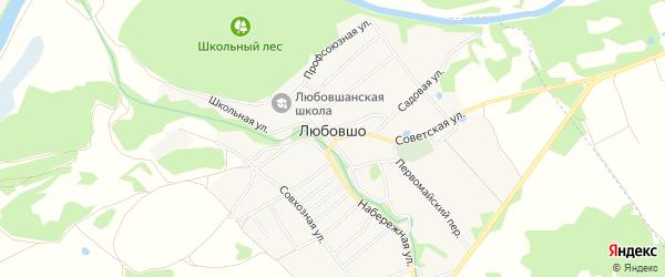 Карта деревни Любовшо в Брянской области с улицами и номерами домов