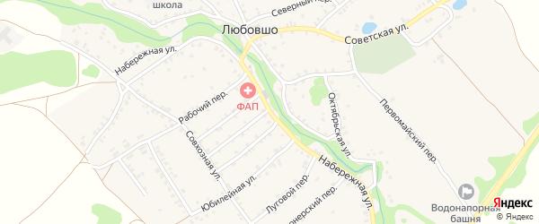 Набережная улица на карте деревни Любовшо с номерами домов